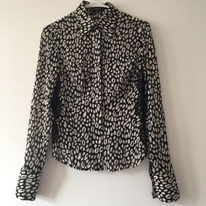 Versace Silk Lace Spotted Print Button Up Blouse